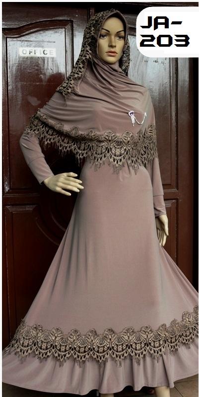 Baju Syari Terbaru Coklat Ja203 Baju Pesta Busana Muslim Modern