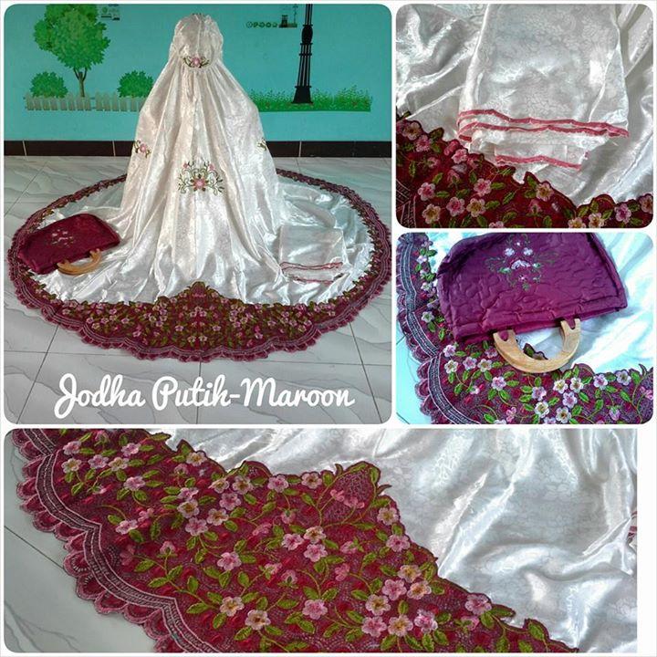Mukena Jodha Putih Maroon