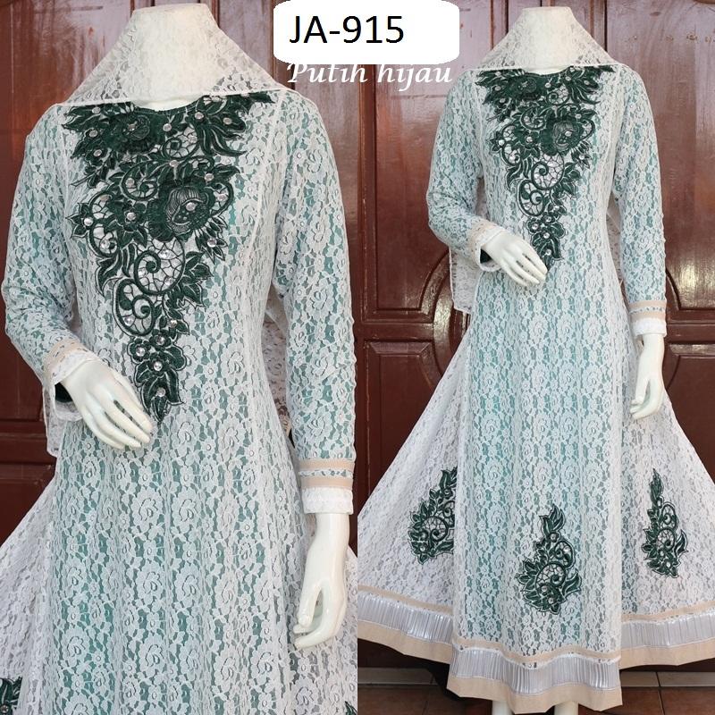 Gamis Jodha Putih Hijau Full Brokat Ja 915 Baju Pesta Busana