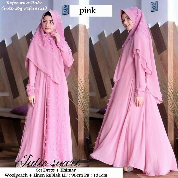 Andine Syari Pink Baju Pesta Busana Muslim Modern Model