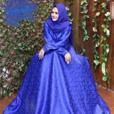 Gamis Jaguar Biru Baju Pesta Busana Muslim Modern Model Gamis Terbaru
